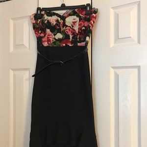 Black and pink and white floral dress